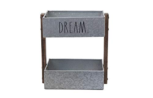 Rae Dunn 2 Tier Desk Organizer Galvanized Steel Caddy With Wood Accents Tabletop Or Floor Design Chic Stylish Storage Bin For Office Home Or Kitchen Dream Print Rae Dunn By Designstyles 0