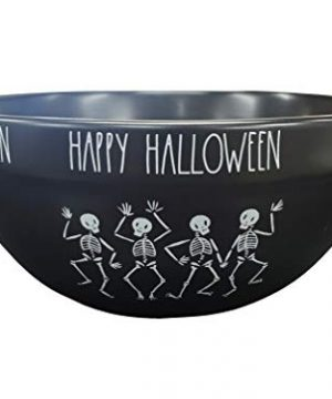 Rae Dunn Artisan Collection By Magenta Black Happy Halloween Bowl Dancing Skeletons 0 300x360