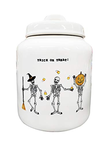Rae Dunn Artisan Collection By MagentaTrick Or Treat Jar Three Skeletons 0