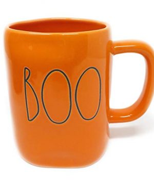 Rae Dunn By Magenta BOO 2019 Limited Edition Orange Ceramic LL Coffee Tea Mug With Black Letters 0 300x360