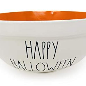 Rae Dunn By Magenta HAPPY HALLOWEEN 10 Inch Large Size Ceramic LL Serving Mixing Bowl With Orange Interior 0 300x301