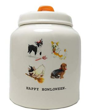 Rae Dunn By Magenta HAPPY HOWLOWEEN Ceramic Typewriter Icon Dog Canister 0 300x360