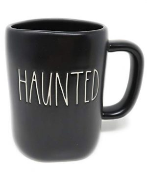 Rae Dunn By Magenta HAUNTED Black Ceramic LL Coffee Tea Mug With White Letters 2019 Limited Edition 0 300x360