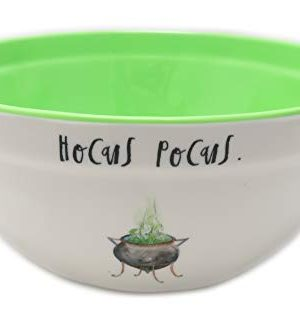 Rae Dunn By Magenta HOCUS POCUS Script Melamine Cauldron Icon Mixing Bowl With Green Interior 0 300x318