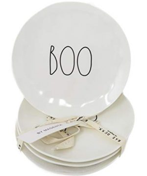 Rae Dunn By Magenta Set Of 4 BOO Melamine LL 6 Round Appetizer Plates 0 300x360