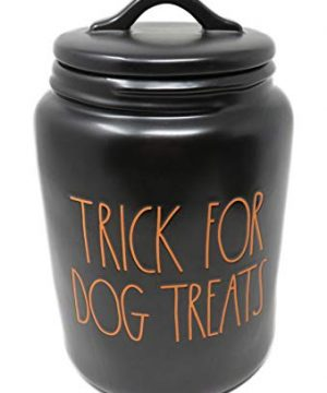 Rae Dunn By Magenta TRICK FOR DOG TREATS Black Ceramic LL Large Pet Canister With Orange Letters 2019 Limited Edition 0 0 300x360