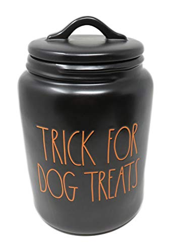 Rae Dunn By Magenta TRICK FOR DOG TREATS Black Ceramic LL Large Pet Canister With Orange Letters 2019 Limited Edition 0 0