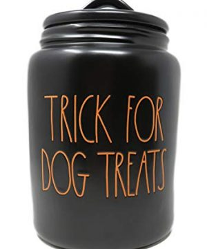 Rae Dunn By Magenta TRICK FOR DOG TREATS Black Ceramic LL Large Pet Canister With Orange Letters 2019 Limited Edition 0 300x360