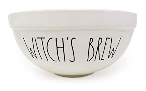 Rae Dunn By Magenta WITCHS BREW 10 Inch Large Size Ceramic LL Serving Mixing Bowl With Orange Interior 0 0