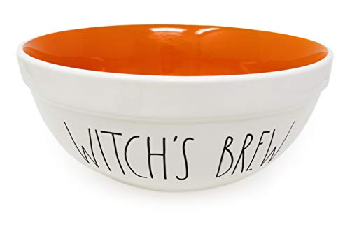 Rae Dunn By Magenta WITCHS BREW 10 Inch Large Size Ceramic LL Serving Mixing Bowl With Orange Interior 0
