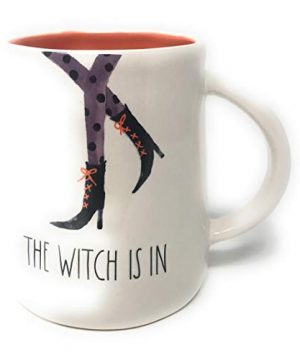 Rae Dunn Halloween Mug With Witch Legs DesignThe Witch Is In Cream With Orange Interior 0 300x360