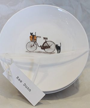 Rae Dunn Magenta Ceramic Circle Dessert Appertizer Salad Candy Dishes Plates Halloween Scaredy Cat Black Cats Bicycle Set Of 4 0 300x360