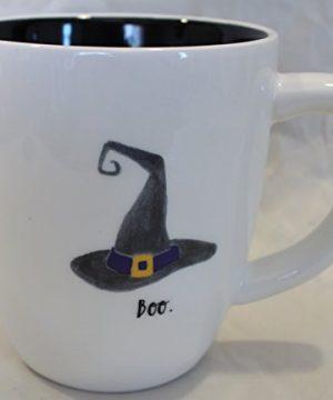 Rae Dunn Magenta Ceramic Halloween Coffee Mug Witch Hat Boo CreamBlack 0 300x360