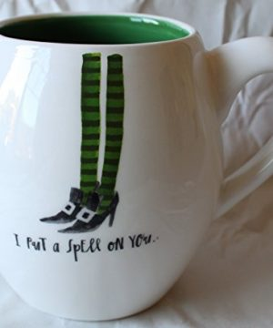 Rae Dunn Magenta Ceramic Halloween Coffee Mug With Witch Legs Design I Put A Spell On You CreamGreen 0 300x360