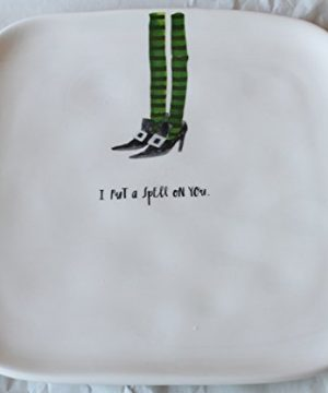 Rae Dunn Magenta Ceramic Halloween Salad Appetizer Square Plate With Witch Legs Design I Put A Spell On You 0 300x360