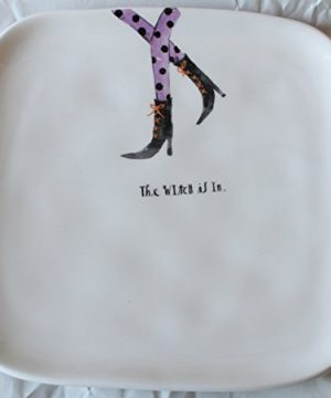 Rae Dunn Magenta Ceramic Halloween Salad Appetizer Square Plate With Witch Legs Design The Witch Is In 0 300x360