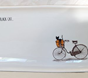 Rae Dunn Magenta Ceramic Rectangular Serving Platter Plate Halloween Scaredy Cat Black Cats Bicycle 0 300x268