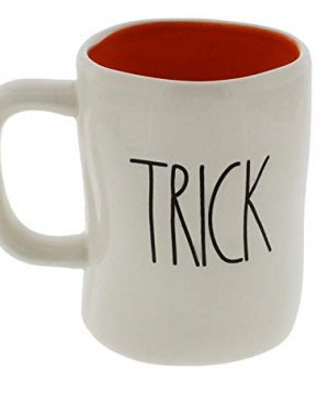 Rae Dunn Magenta TRICK TREAT Halloween Mug Coffee Tea Orange Interior Cup 0 300x360