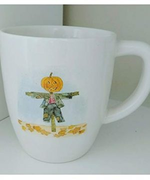 Rae Dunn Pumpkin Scarecrow Trick Or Treat Double Sided Halloween Holiday Coffee Mug Artisan Collection By Magenta 0 0 300x360