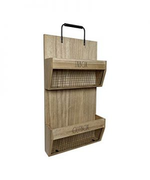 Rae Dunn Wall File Holder 2 Tier Vintage Wooden Inbox And Outbox With Galvanized Steel Wire Document And Paperwork Organization And Storage Mounts To Wall And Doors 0 0 300x360