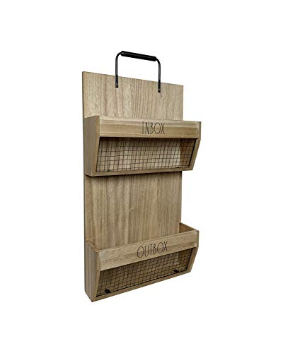 Rae Dunn Wall File Holder 2 Tier Vintage Wooden Inbox And Outbox With Galvanized Steel Wire Document And Paperwork Organization And Storage Mounts To Wall And Doors 0 0