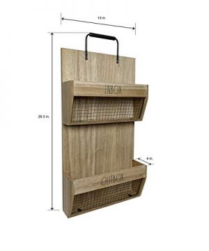 Rae Dunn Wall File Holder 2 Tier Vintage Wooden Inbox And Outbox With Galvanized Steel Wire Document And Paperwork Organization And Storage Mounts To Wall And Doors 0 1 300x360