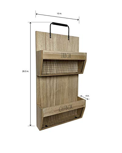 Rae Dunn Wall File Holder 2 Tier Vintage Wooden Inbox And Outbox With Galvanized Steel Wire Document And Paperwork Organization And Storage Mounts To Wall And Doors 0 1