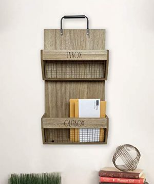 Rae Dunn Wall File Holder 2 Tier Vintage Wooden Inbox And Outbox With Galvanized Steel Wire Document And Paperwork Organization And Storage Mounts To Wall And Doors 0 2 300x360