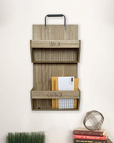 Rae Dunn Wall File Holder 2 Tier Vintage Wooden Inbox And Outbox With Galvanized Steel Wire Document And Paperwork Organization And Storage Mounts To Wall And Doors 0 2