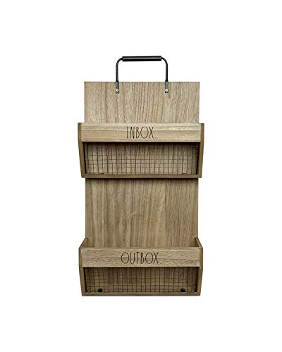 Rae Dunn Wall File Holder 2 Tier Vintage Wooden Inbox And Outbox With Galvanized Steel Wire Document And Paperwork Organization And Storage Mounts To Wall And Doors 0