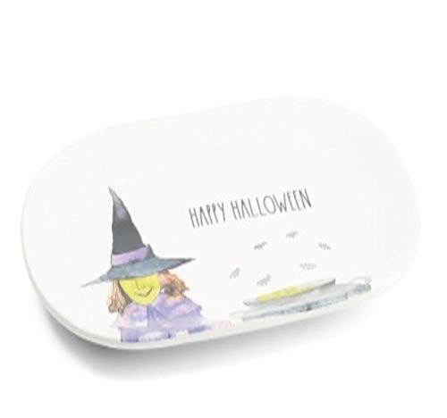 Rae Dunn By Magenta 15 Oval Ceramic Platter With Picture Of Witch Inscribed HAPPY HALLOWEEN In Large Letters LL 0