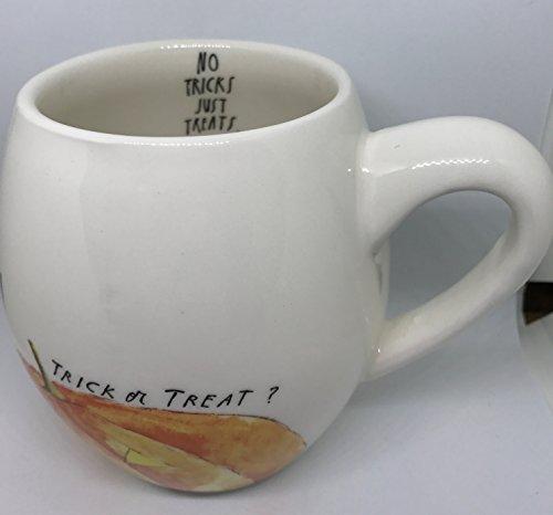 Rae Dunn By Magenta Halloween Trick Or Treat With Pumpkin Jack O Lantern No Tricks Just Treats On Interior Coffee Tea Soup Mug 0 0