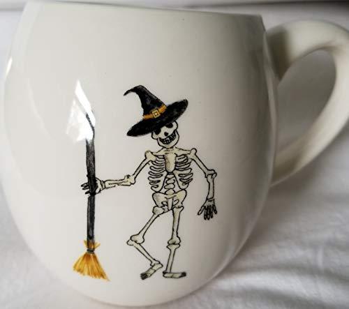 Rae Dunn By Magenta SKELETON With Broom HALLOWEEN Mug With Black Inside 0