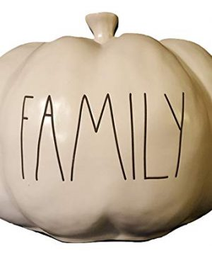 Rae Dunn By Magenta White Ceramic Decorative Pumpkin With Family In Black Letters 0 300x360