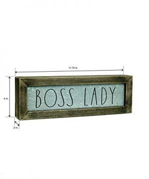 Rae DunnBoss Lady Desk Plaque Inspirational Message Desktop Sign For Home And Office Dcor Dcor Motivational Vintage Display For Artist Graphic Designer Chic Distressed Wood And Metal 0 1 300x360