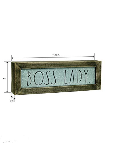 Rae DunnBoss Lady Desk Plaque Inspirational Message Desktop Sign For Home And Office Dcor Dcor Motivational Vintage Display For Artist Graphic Designer Chic Distressed Wood And Metal 0 1