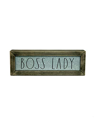 Rae DunnBoss Lady Desk Plaque Inspirational Message Desktop Sign For Home And Office Dcor Dcor Motivational Vintage Display For Artist Graphic Designer Chic Distressed Wood And Metal 0