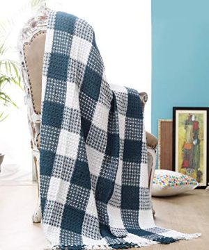 Ramanta Home Buffalo Check All Season Cotton Throw Blanket 50x60 Machine Washable Farmhouse Style Throws Blanket Warm Soft Cozy TealWhite 0 1 300x360