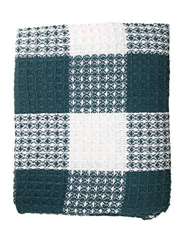 Ramanta Home Buffalo Check All Season Cotton Throw Blanket 50x60 Machine Washable Farmhouse Style Throws Blanket Warm Soft Cozy TealWhite 0 3