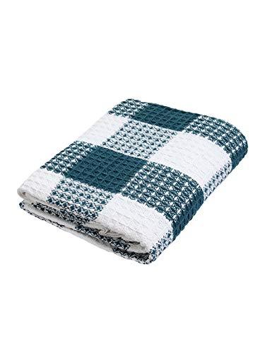 Ramanta Home Buffalo Check All Season Cotton Throw Blanket 50x60 Machine Washable Farmhouse Style Throws Blanket Warm Soft Cozy TealWhite 0 4
