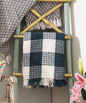 Ramanta Home Buffalo Check All Season Cotton Throw Blanket 50x60 Machine Washable Farmhouse Style Throws Blanket Warm Soft Cozy TealWhite 0 5 300x360