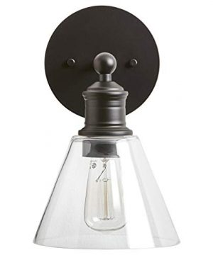 Rivet Industrial Glass Shade Wall Sconce Fixture With Edison Light Bulb 625 X 825 X 1075 Inches Matte Black 0 300x360