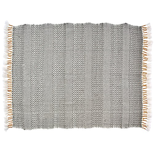 Rivet Modern Hand Woven Stripe Fringe Throw Blanket Soft And Stylish 50 X 60 Charcoal Grey And Mustard Yellow 0 0