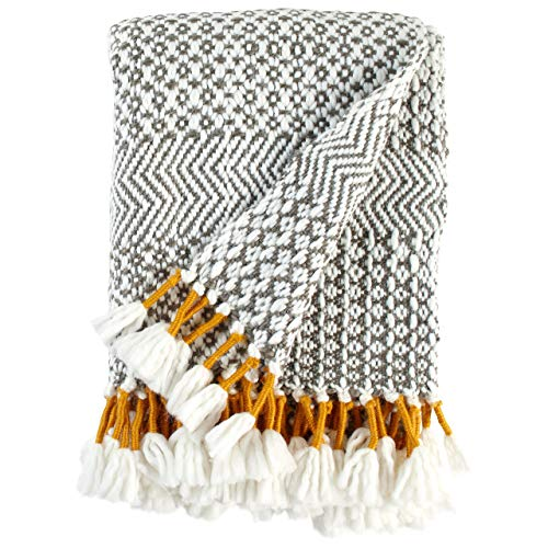 Rivet Modern Hand Woven Stripe Fringe Throw Blanket Soft And Stylish 50 X 60 Charcoal Grey And Mustard Yellow 0 2