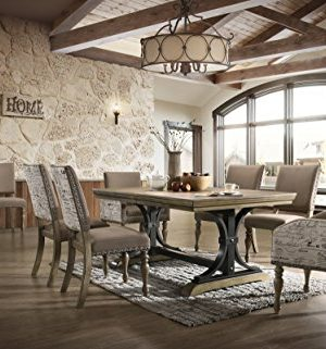 Roundhill Furniture Birmingham Dining Set One Size Driftwood Finish 0 300x321