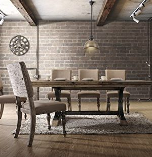 Roundhill Furniture Birmingham Nailhead 7 Piece ExtensibleTable With Nail Head Chairs Dining Set Driftwood 0 300x309