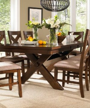 Roundhill Furniture Karven 9 Piece Solid Wood Dining Set With Table And 8 Chairs 0 300x360
