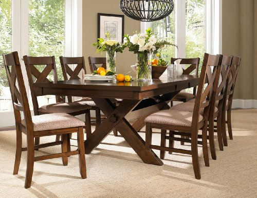 Roundhill Furniture Karven 9 Piece Solid Wood Dining Set With Table And 8 Chairs 0