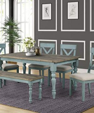 Roundhill Furniture Prato 6 Piece Table Set With Cross Back Chairs And Dining Bench Blue 0 300x360