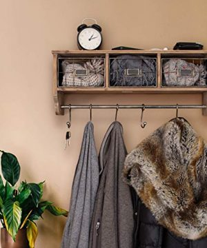 Rustic Coat Rack Wall Mounted Shelf With Hooks Baskets Entryway Organizer Wall Shelf With 5 Coat Hooks And Cubbies Solid Wooden Shelf With Hooks Hang Coats Towels Hats Keys Or Coffee Mugs 0 0 300x360